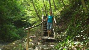 Schönheit mit dem Rucksack wandern, der unten Treppe im wilden Naturpark des Dschungels in den Bergen kommt Reisetourismuswandern stock footage
