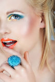Schönheit mit den orange Lippen Lizenzfreies Stockbild