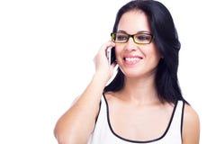 Schönheit mit einem Handy lokalisiert auf weißem Hintergrund Stockbild