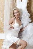 Schönheit mit einem Hochzeitskleid befestigen stockbild