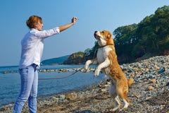 Schönheit mit ihrem Hund nahe Meer Stockfoto