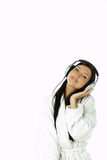 Schönheit mit Kopfhörern lizenzfreies stockfoto