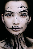 Schönheit mit kreativem Make-uphalloween-Baummake-up Stockbilder