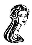 Schönheit mit langem herrlichem Haarvektor Lizenzfreie Stockfotos