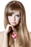 Schönheit mit rosa Herzen Lizenzfreies Stockfoto