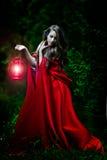 Schönheit mit rotem Mantel und Laterne im Wald lizenzfreie stockfotografie