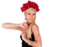Schönheit mit roten Rosen Stockfotografie