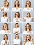 Schönheit mit verschiedenen Gesichtsausdrücken und Gesten lizenzfreies stockfoto