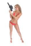Schönheit mit Waffe Stockfoto
