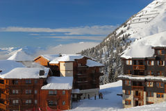 Schönheit Plagne Skiort Stockbild