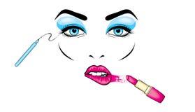 Schönheit ` s Gesicht mit Make-up Augen und Lippen Kosmetik Vektorillustration für eine Karte oder ein Plakat Druck auf Kleidung  vektor abbildung