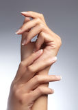 Schönheit ` s Hände auf hellem Hintergrund Sorgfalt über Hand Zarte Palme Natürliche Maniküre, saubere Haut Französische Nägel stockfoto