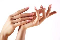 Schönheit ` s Hände auf hellem Hintergrund Sorgfalt über Hand Zarte Palme Natürliche Maniküre, saubere Haut Rosafarbene Nägel lizenzfreies stockfoto