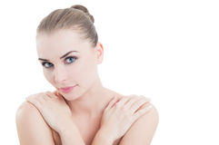 Schönheit und healtcare Konzept mit perfekter Hautfrau Lizenzfreie Stockbilder