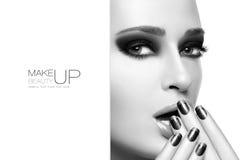 Schönheit und Make-upkonzept Schwarzweiss-Schablonen-Design Lizenzfreies Stockfoto