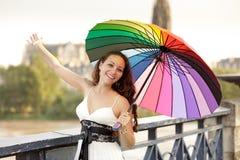 Schönheit und Regenschirm Stockfotografie