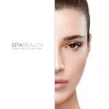 Schönheit und skincare Konzept Halbes Gesichts-Porträt lizenzfreies stockfoto