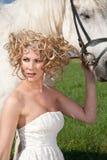 Schönheit und weißes Pferd Stockfotografie