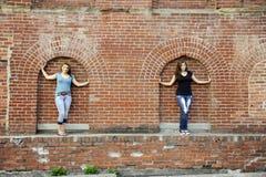 Schönheiten auf dem Gebäude Stockfoto