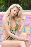 Schönheiten in einem Badeanzug oder im Meerjungfrauendstück über und unter Stockbilder