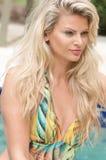 Schönheiten in einem Badeanzug oder im Meerjungfrauendstück über und unter Lizenzfreies Stockfoto