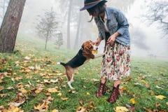 Schönheiten, Mädchen mit einem Hund lizenzfreies stockfoto
