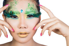 Schönheiten mit perfekter Kunst bilden und langes falsches eyelashe Stockbild