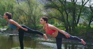 Schönheiten s mit geeignetem Körper an übenden Yogahaltungen der Natur das Bein anheben und allen Körper in überraschendem Platz