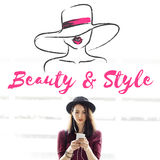 Schönheits-Art-Mädchen-Modell Silhouette Text Concept lizenzfreie stockfotos