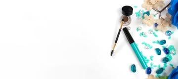Schönheits-Blog, kosmetische Produkte, auf hellem Hintergrund Lizenzfreies Stockfoto