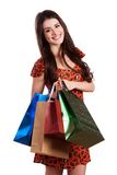 Schönheits-Frau mit Einkaufstaschen stockfoto