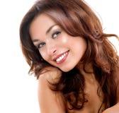 Schönheits-Gesicht über Weiß Stockfoto