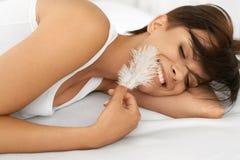Schönheits-Hautpflege Schönheit mit weicher Haut und frischem Gesicht Lizenzfreies Stockfoto