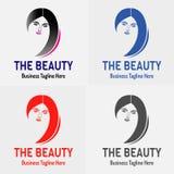 Schönheits-Mädchen-Logo Vector-Schattenbild Stockfotos