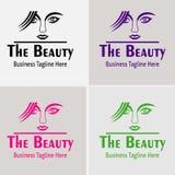 Schönheits-Mädchenfriseursalon mit schönem Mädchen-Logo Vector-Schattenbild Stockfoto