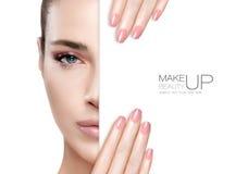Schönheits-Make-up und Nagel Art Concept lizenzfreies stockbild