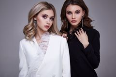 Schönheits-Modeart des Porträts zwei kleidet sexy hübsche m Stockfotografie