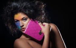 Schönheits-Modell mit colorfull machen-upe Stockfotografie