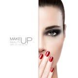Schönheits-Nagel-Kunst- und Make-upkonzept Lizenzfreie Stockbilder