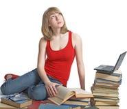 Schönheits-Schulmädchen mit Buch Lizenzfreie Stockfotos