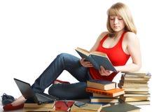Schönheits-Schulmädchen mit Buch lizenzfreie stockbilder