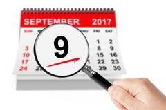Schönheits-Tageskonzept 9. September 2017 Kalender mit Vergrößerungsglas Lizenzfreie Stockfotografie