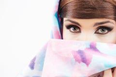 Schönheitsart-Frauenporträt in der asiatischen Art Stockbilder