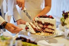 Schönheitsbraut und hübscher Bräutigam schneiden eine Hochzeitstorte hochzeit lizenzfreie stockbilder