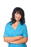 Schönheitsfrau, die blauen Schal trägt Stockfotografie