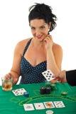 Schönheitsfrau im Kasino Lizenzfreies Stockbild