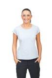 Schönheitsfrau im unbelegten grauen T-Shirt Lizenzfreies Stockfoto