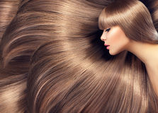 Schönheitsfrau mit dem glänzenden langen Haar Stockbild