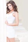 Schönheitsfrau mit den langen Haaren Stockfoto