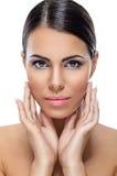 Schönheitsfrau mit gesunder Haut Stockfotos